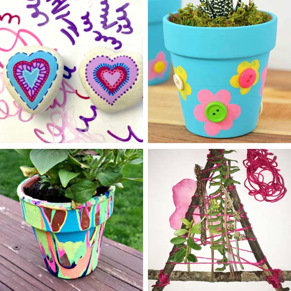 heart rocks, potted flowers, nature weaving