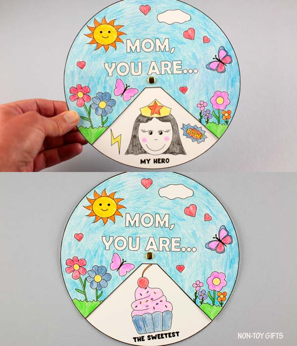 Mother's Day coloring spinner kids can make