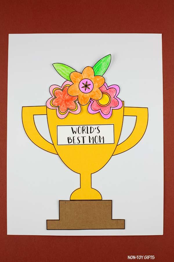 Mother's Day flower trophy craft for preschoolers