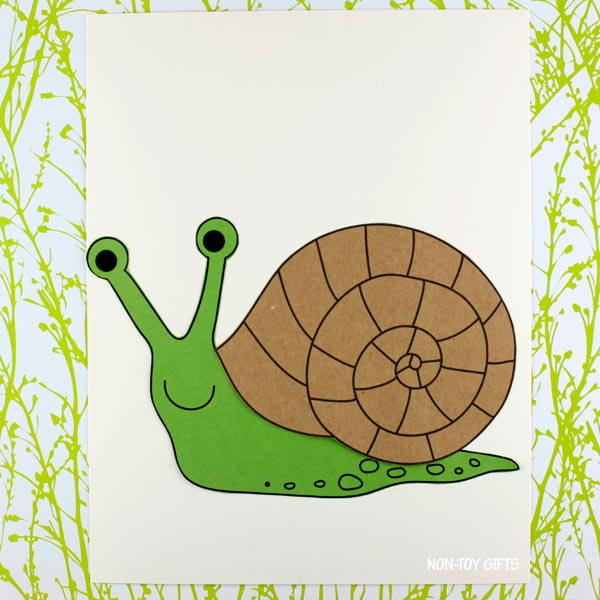 snail craft and coloring page