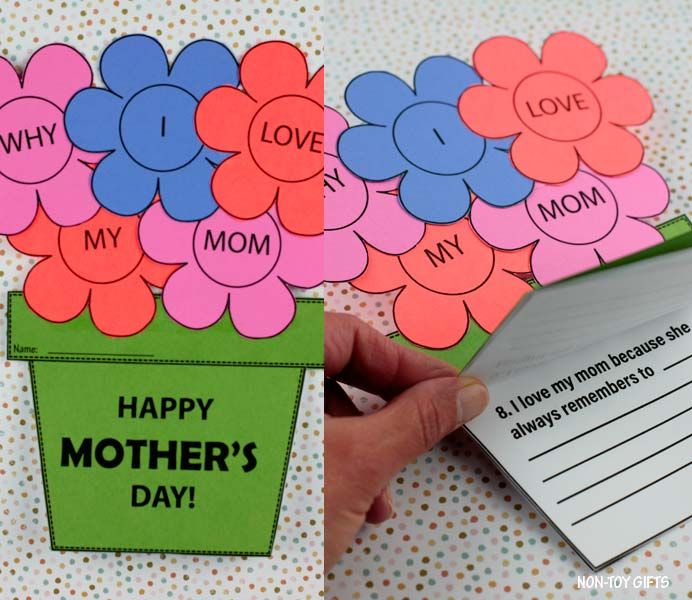 Reasons I love my mom flower craft and booklet