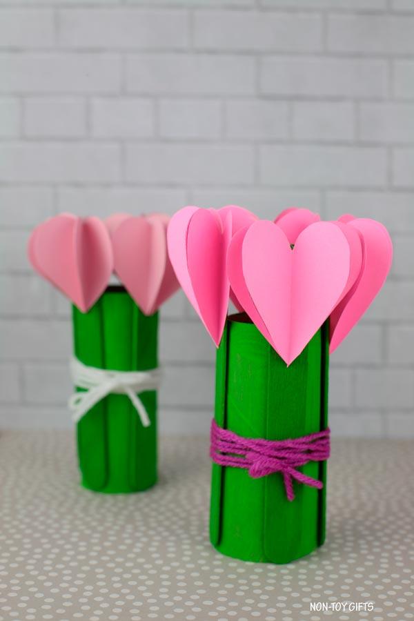 3d heart flowers craft