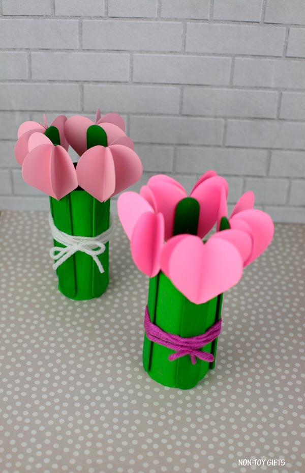 3d heart flowers craft for mother's day