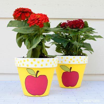 Apple painted flowerpot