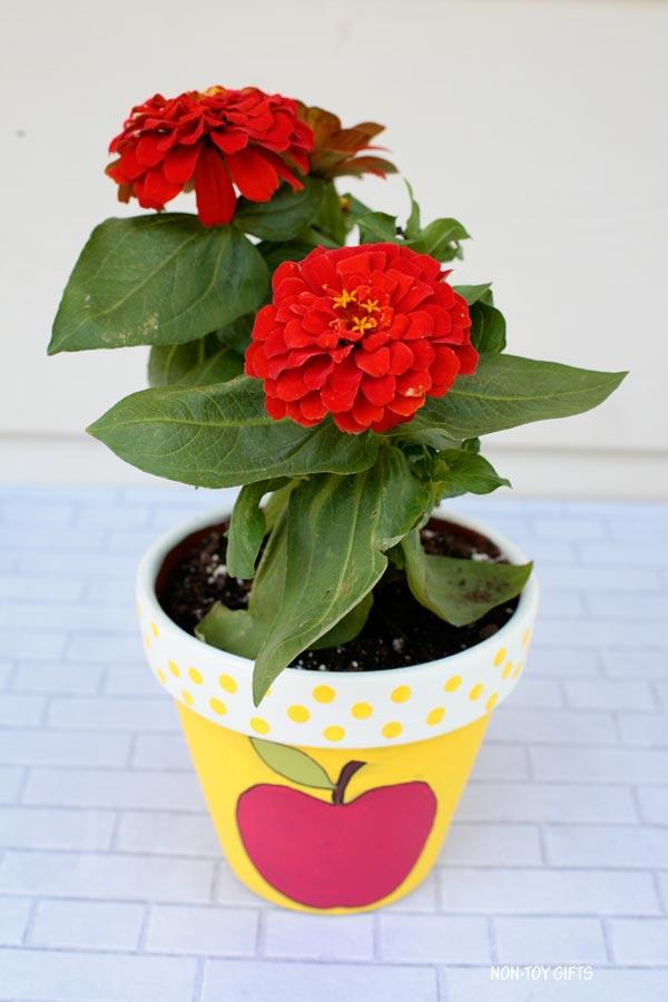 Apple painted flowerpot gift