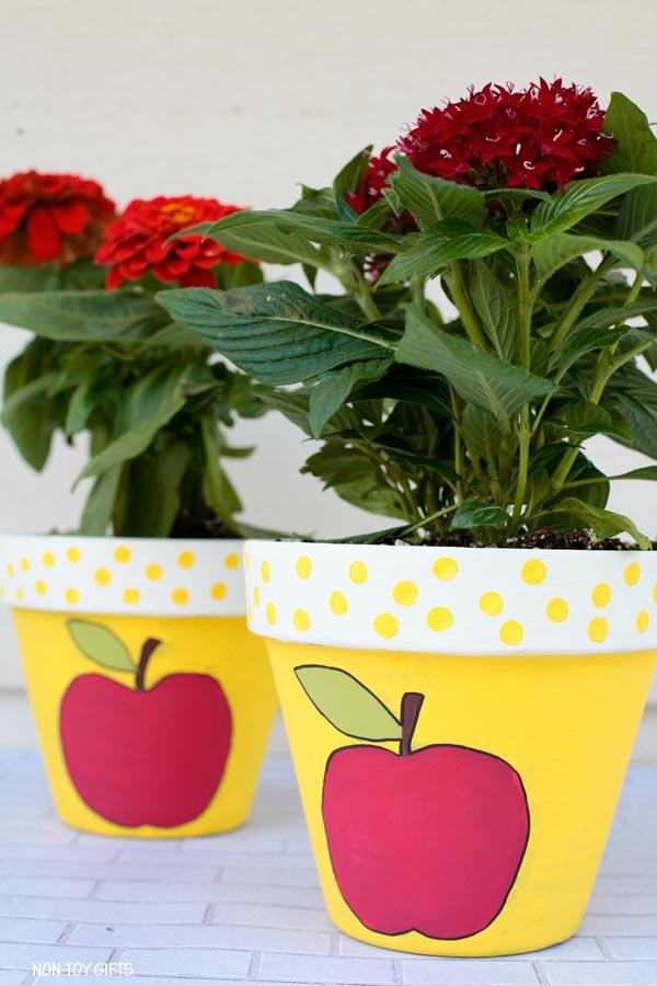 Apple painted flowerpot gift for teachers