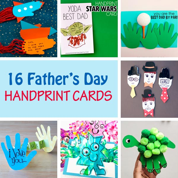 Father's Day handprint cards kids can make for dad and grandpa