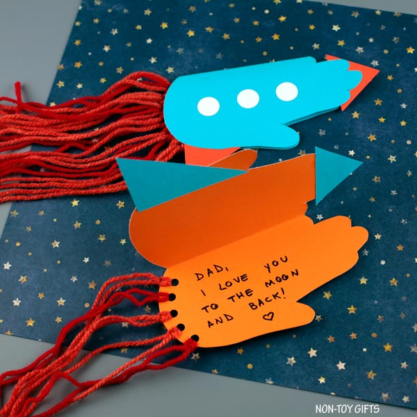 Father's Day handprint rocket card for dad and grandpa