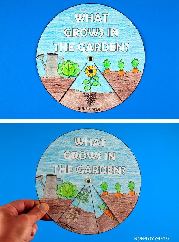 garden spinner craft for kids to learn about veggies and fruits