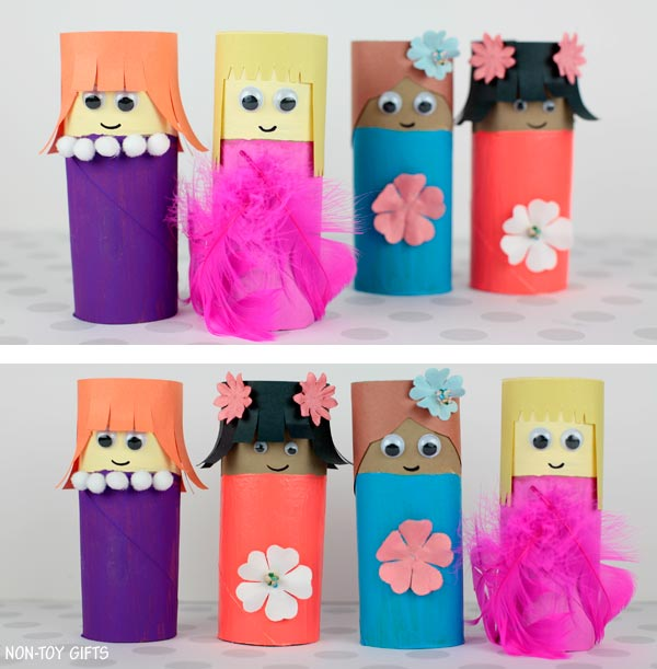 simple paper roll Mother's Day craft for preschoolers