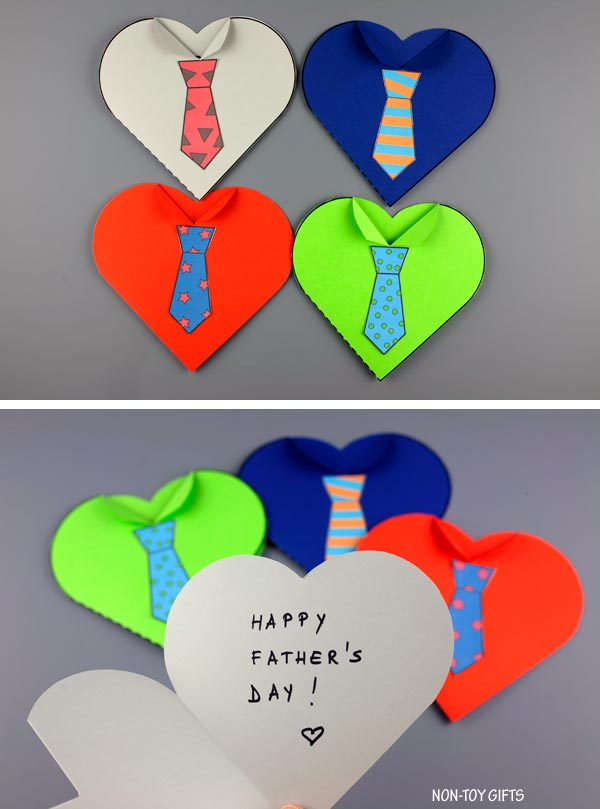 Father's Day tie heart cards for kids