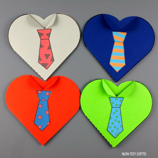 Father's Day tie heart cards