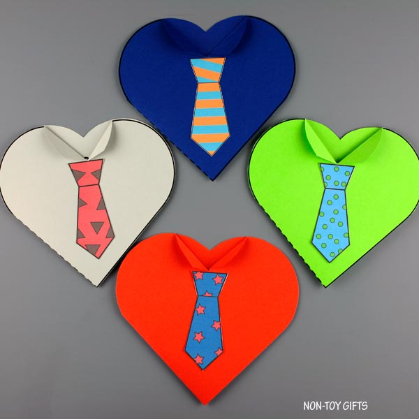 Father's Day tie heart cards for preschoolers
