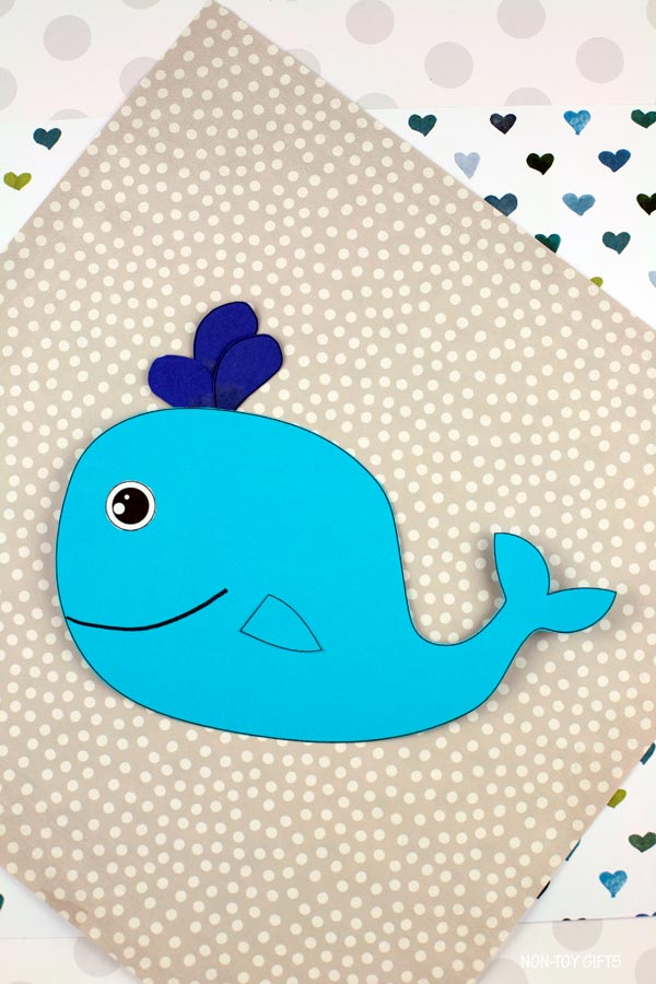 Paper whale craft for kids