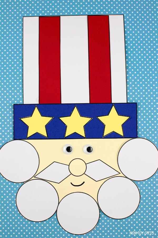 Shape Uncle Sam craft for preschoolers
