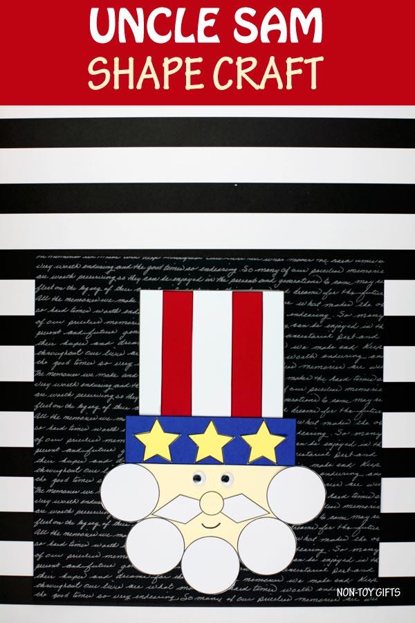 Shape Uncle Sam craft for kids