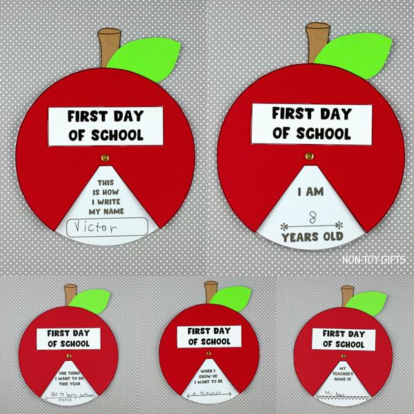 First day of school apple spinner craft for preschoolers, kindergartners and older kids
