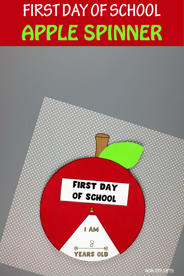 First day of school apple spinner craft for kids