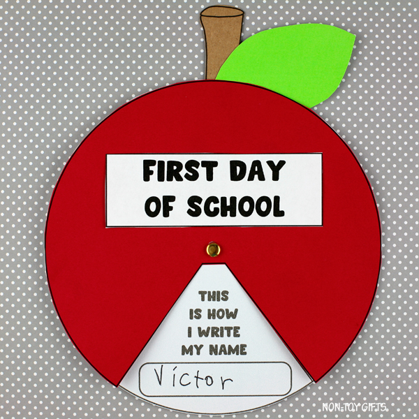 First day of school apple spinner - back to school craft for kids