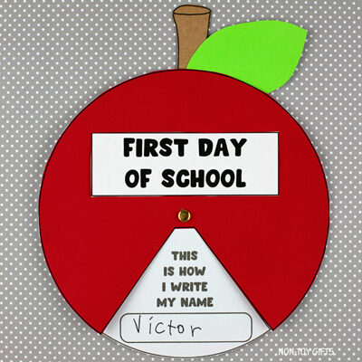 First day of school apple spinner