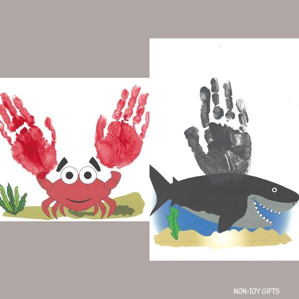 Ocean handprint animals: shark and crab
