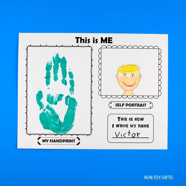 This is me! printable for preschool and kindergarten