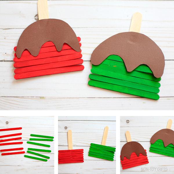 Caramel apple craft preschool made with craft sticks and paper