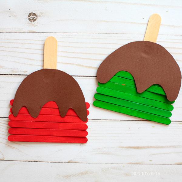 caramel apple preschool craft that uses popsicle sticks