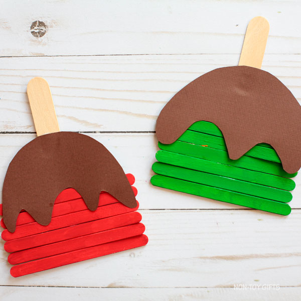 Craft stick caramel apples - preschool apple craft
