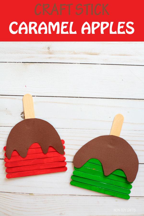 Craft stick caramel apples craft for kids. Easy preschool caramel apple to make this fall