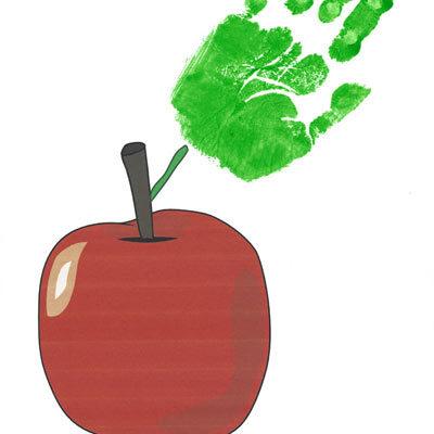 First day of school handprint apple
