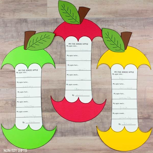 5 senses apple template