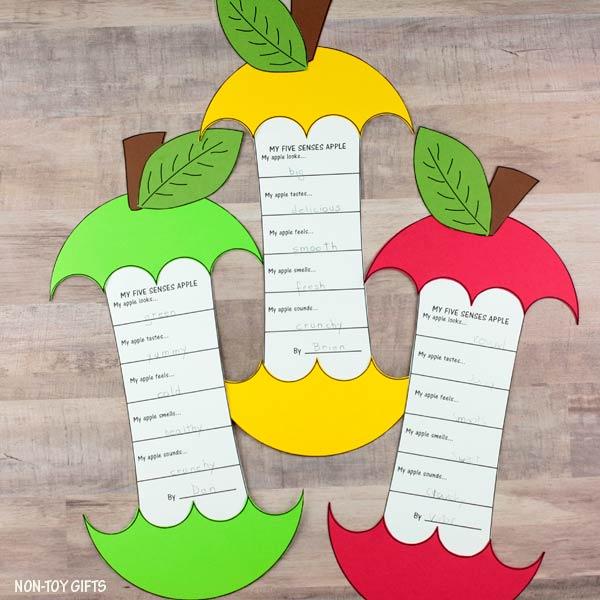 apple tasting five senses template