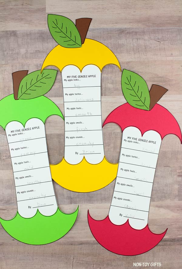 Five senses apple craft and writing activity