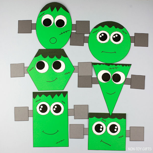 Use the Frankenstein craft template to make this Halloween Frankenstein shape craft for preschool