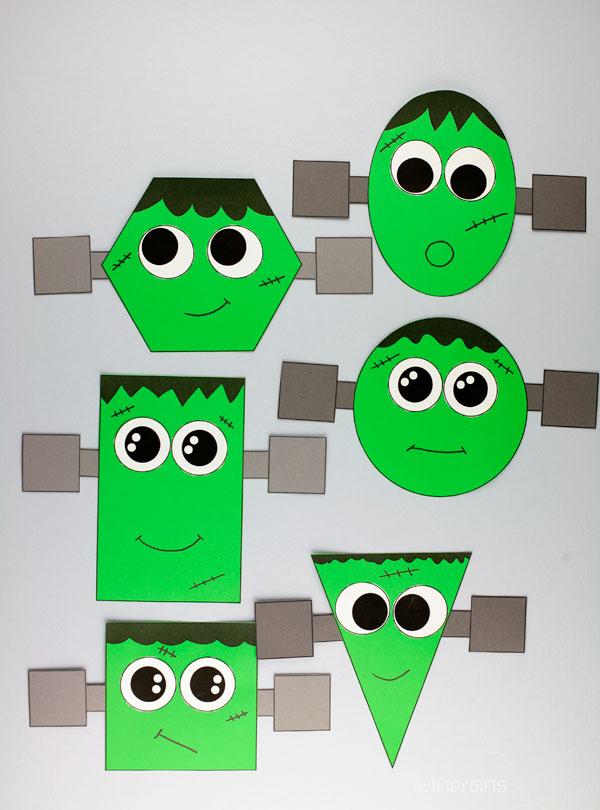 Frankenstein preschool craft - Frankenstein shape craft for kids