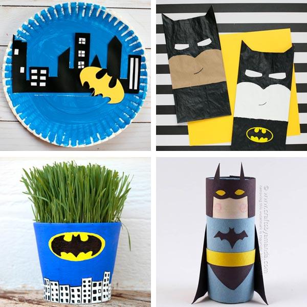 Batman crafts: interactive paper plate craft, paper bag Batman, Batman grass head and paper roll Batman