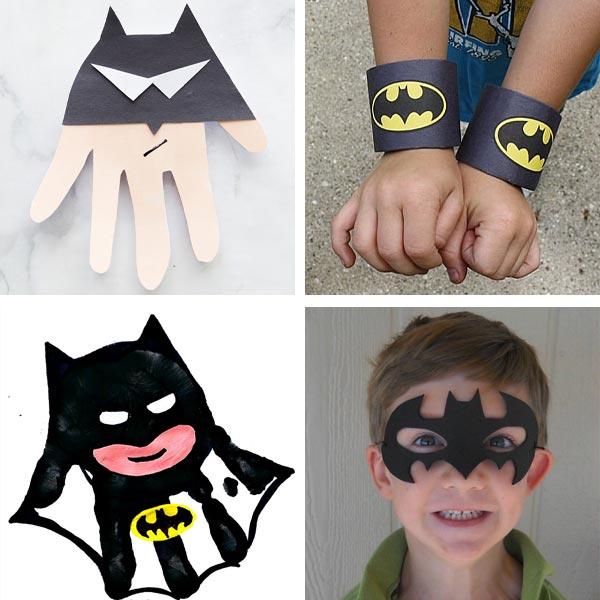 Batman crafts : handprint Batman, wrist cuffs and mask