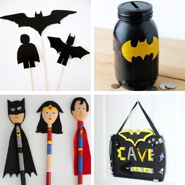 Batman crafts: shadow puppets, mason jar banks, wooden spoon superhero and Batcave sign