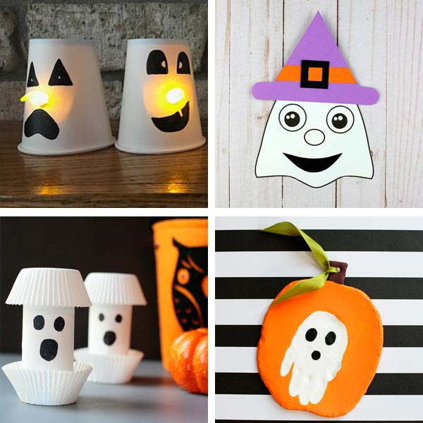 Ghost crafts with paper cup, paper , paper roll and clay