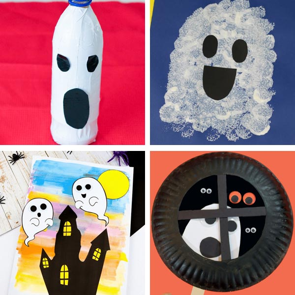Ghost crafts for preschoolers made with plastic bottle, pom pom, paper plate