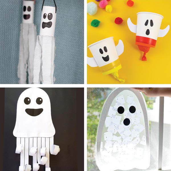Ghosts for kids made with paper roll, paper cups and sun catcher
