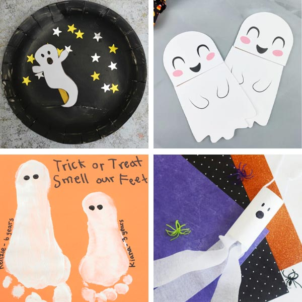 Ghost crafts with paper plate, paper bag, paper roll and footprint