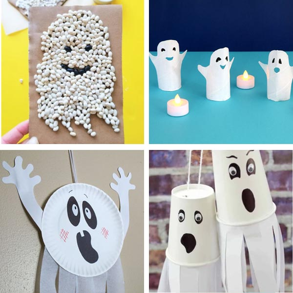 Ghost crafts made with white beans, paper roll, paper plate and paper cup