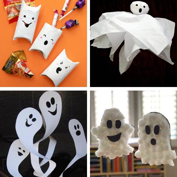 Ghosts made with paper roll, tissue paper, paper and cotton balls