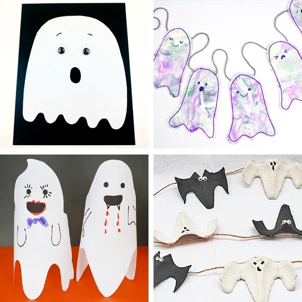 Ghosts made with paper, egg carton