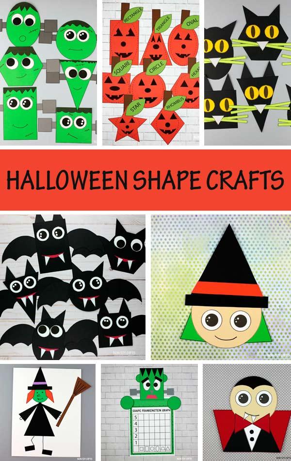 Halloween shape crafts for kids: witch, Frankenstein, black cat, pumpkin, Jack-O-Lantern, bat and vampire