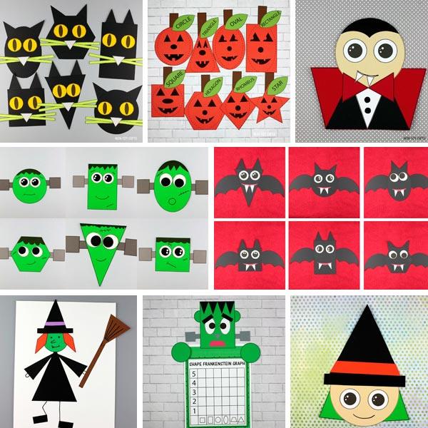 Halloween shape crafts for preschoolers, kindergartners and older kids