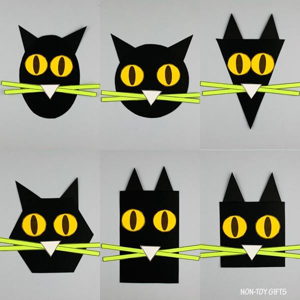 Shape black cat craft for Halloween