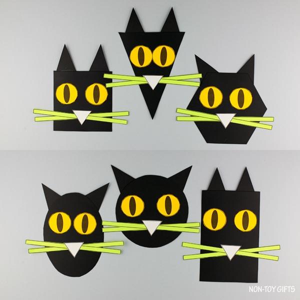 Easy shape black cat craft for kids